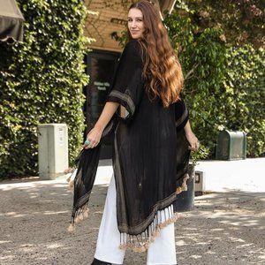 Bohemian Longline Tassel Border Kimono - Black